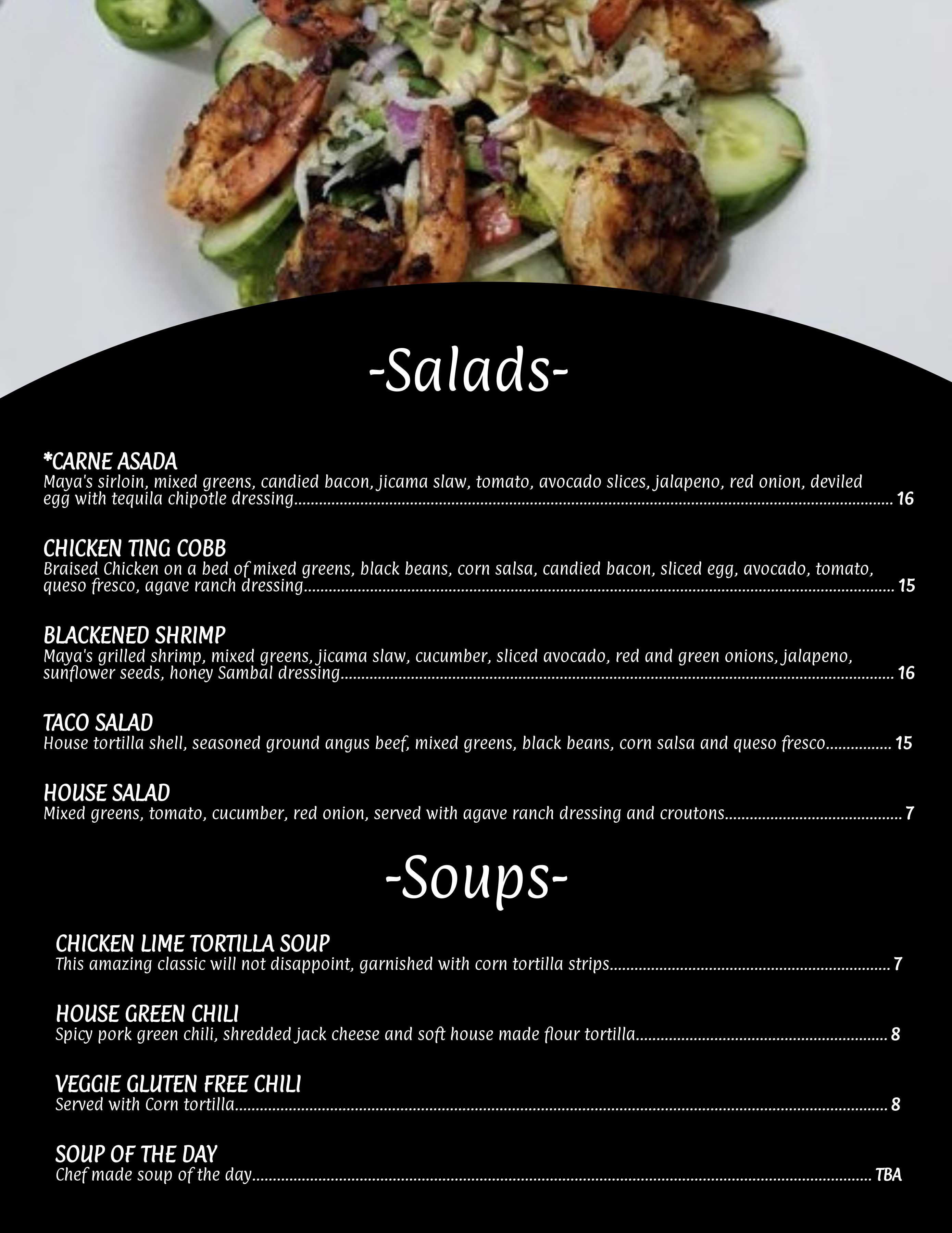 Salad Soup menu